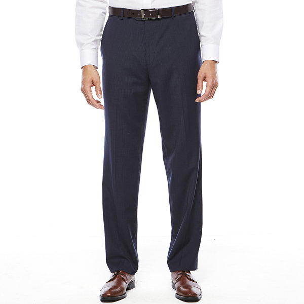 Stafford® Travel Wool Blend Stretch Navy Pinstripe Flat-Front Dress Pants - Classic Fit