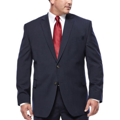 Stafford® Travel Wool Blend Stretch Navy Pinstripe Jacket - Big & Tall