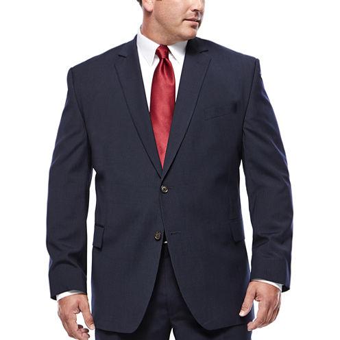 Stafford® Travel Wool Blend Stretch Navy Pinstripe Jacket - Big & Tall