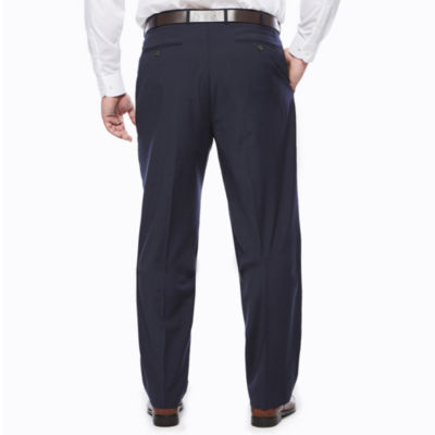 Stafford® Travel Wool Blend Stretch Navy Pinstripe Flat-Front Dress Pants - Big & Tall