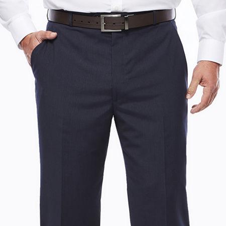 Stafford Travel Wool Blend Stretch Navy Pinstripe Flat-Front Dress Pants - Big & Tall, 46 34, Blue