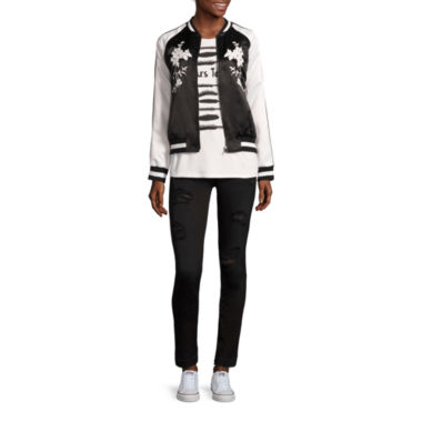 jcpenney.com | BELLE + SKY™ Satin Bomber Jacket or Screen Tee or Destructed Skinny Jeans