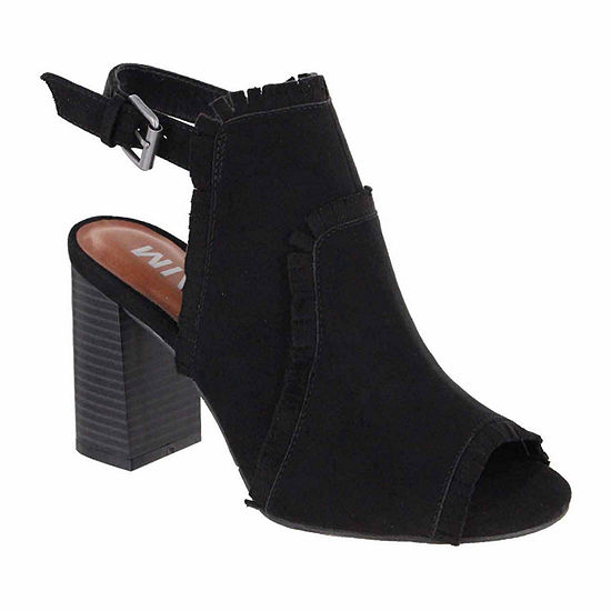 Mia Girl Womens Laura Booties Stacked Heel Buckle