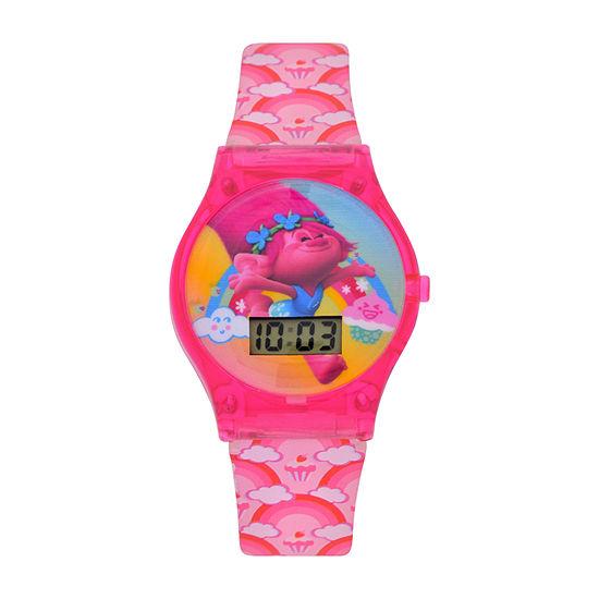 Trolls Trolls Girls Digital Pink Strap Watch-Tro4042jc