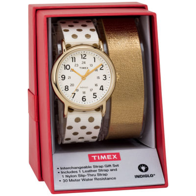 Timex Weekender 38 Box Set Womens White 2-pack Watch Boxed Set-Twg015200jt