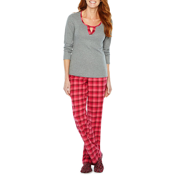 Liz Claiborne Knit Top and Flannel Pant Pajama Set with Sock