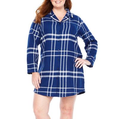 Liz Claiborne Flannel Long Sleeve Pattern Nightshirt-Plus