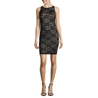 My Michelle Short Sleeve Bodycon Dress-Juniors