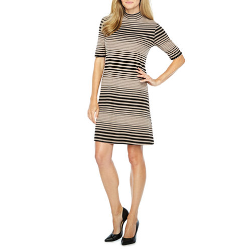 Ronni Nicole Elbow Sleeve Stripe Shift Dress