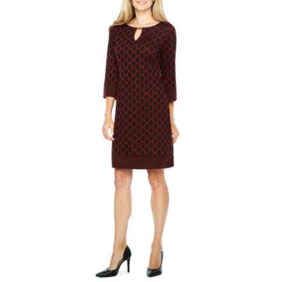 Ronni Nicole 3/4 Sleeve Jacquard Shift Dress