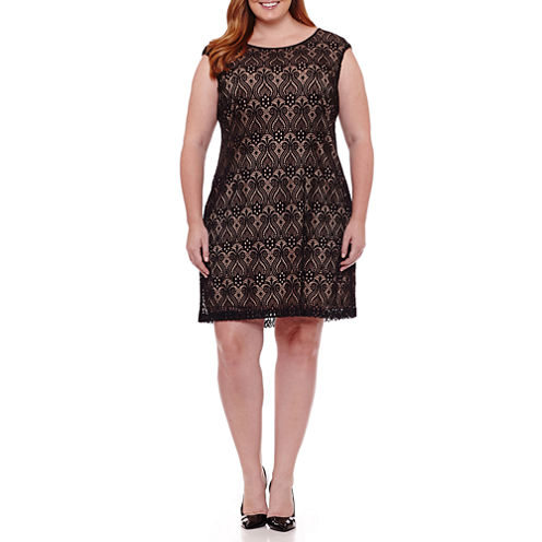 Connected Apparel Sleeveless Shift Dress-Plus