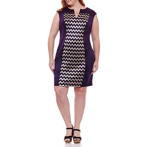 Connected Apparel Sleeveless Chevron Shift Dress-Plus