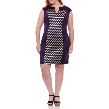 Connected Apparel Sleeveless Chevron Shift Dress-Plus