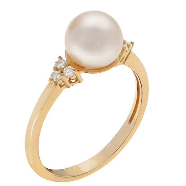 Womens 1/10 CT. T.W. Genuine White Pearl 14K Gold Cocktail Ring
