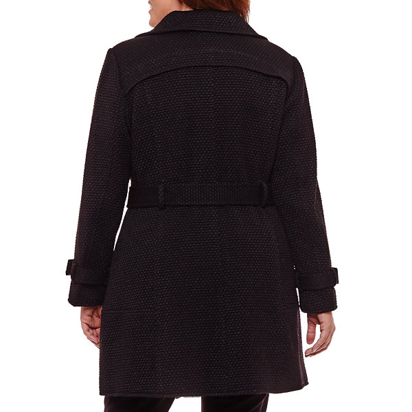 Liz Claiborne Midweight Belted Peacoat-Plus