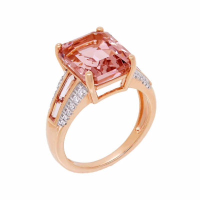 Womens Simulated Pink 18K Gold Over Silver Cocktail Ring