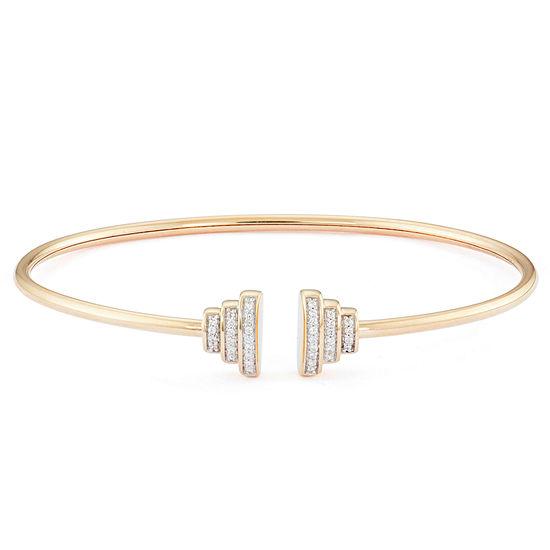 1/10 CT. T.W. Genuine White Diamond 10K Gold Bangle Bracelet