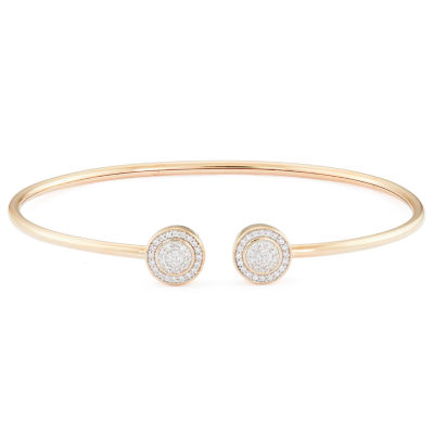 1/4 CT. T.W. Genuine White Diamond 10K Gold Bangle Bracelet