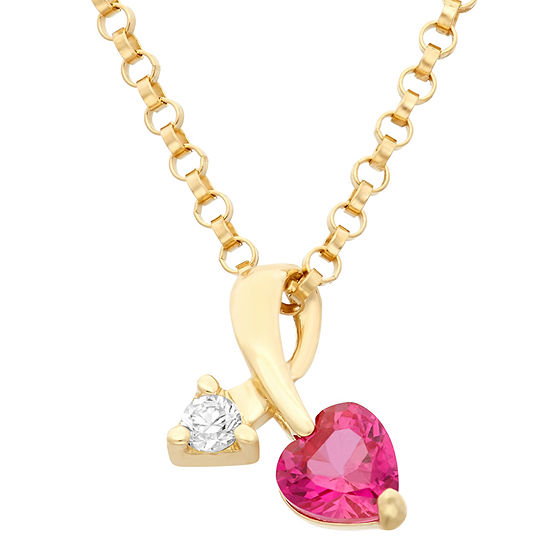 Heart And Arrow-Shaped Girls 1/4 CT. T.W. Lab Created Red Cubic Zirconia 14K Gold Heart Pendant Necklace