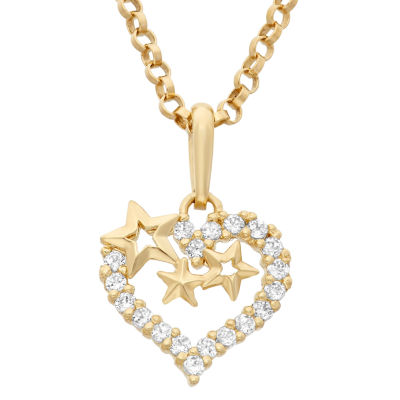 Girls 1/5 CT. T.W. Lab Created White Cubic Zirconia 14K Gold Heart Pendant Necklace