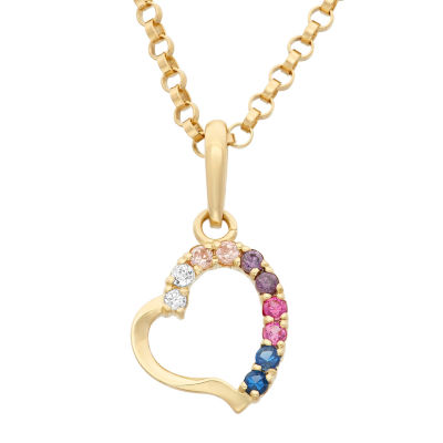 Girls Lab Created Multi Color Cubic Zirconia 14K Gold Heart Pendant Necklace