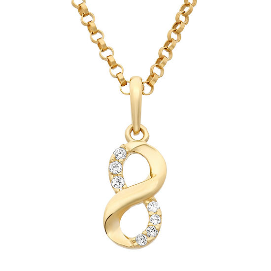 Infinity-Shaped Girls Lab Created White Cubic Zirconia 14K Gold Pendant Necklace