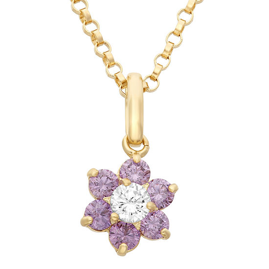 Girls Lab Created Purple Cubic Zirconia 14K Gold Flower Pendant Necklace