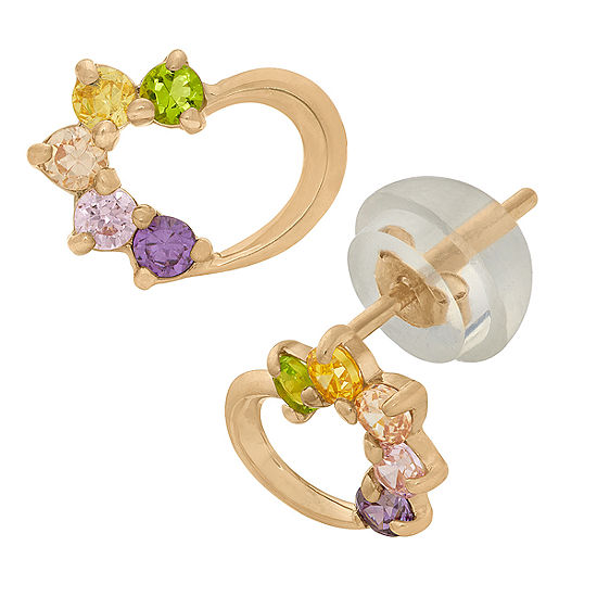 1/5 CT. T.W. Lab Created Multi Color Cubic Zirconia 14K Gold 5.5mm Stud Earrings