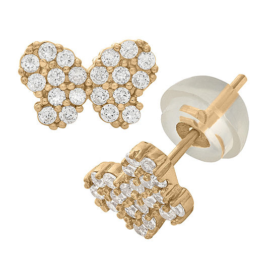 1/5 CT. T.W. Lab Created White Cubic Zirconia 14K Gold 5.5mm Stud Earrings