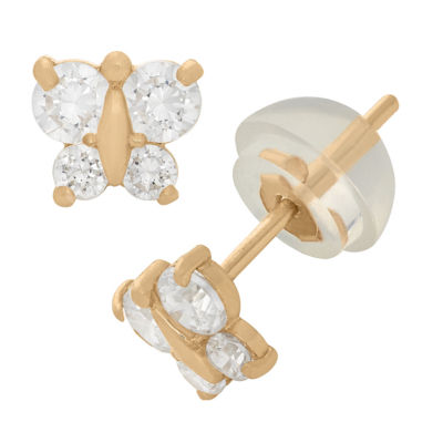 Lab Created White Cubic Zirconia 14K Gold 4.5mm Stud Earrings