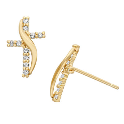 Lab Created White Cubic Zirconia 14K Gold 11mm Stud Earrings