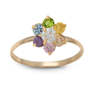 Girls 1/5 CT. T.W. Lab Created Multi Color Cubic Zirconia 14K Gold Flower Delicate Cocktail Ring