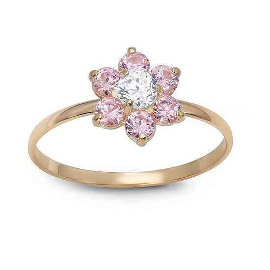 Flower-Shaped Girls 1/5 CT. T.W. Lab Created Pink Cubic Zirconia 14K Gold Flower Delicate Cocktail Ring