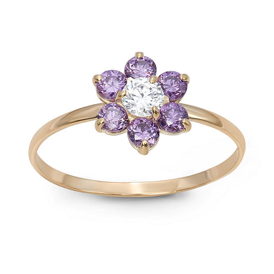 Girls 1/5 CT. T.W. Lab Created Purple Cubic Zirconia 14K Gold Flower Delicate Cocktail Ring