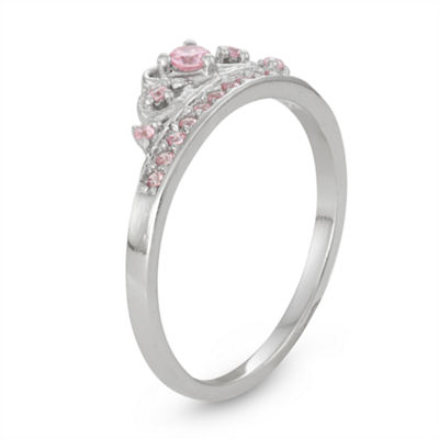 Girls Lab Created Pink Cubic Zirconia Sterling Silver Delicate Cocktail Ring