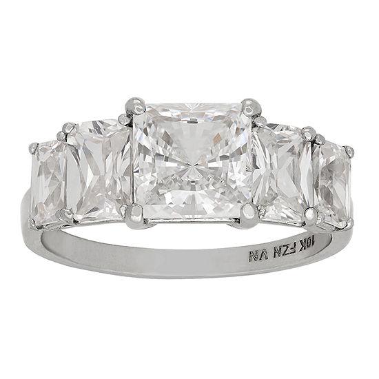 Diamonart Womens 3 3/4 CT. T.W. Lab Created White Cubic Zirconia 10K Gold Engagement Ring