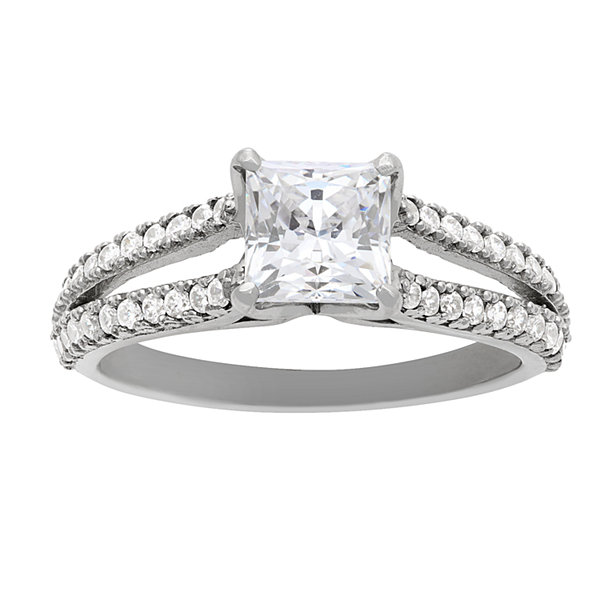 Diamonart Womens 1 5/8 CT. T.W. Lab Created Princess White Cubic Zirconia 10K Gold Engagement Ring