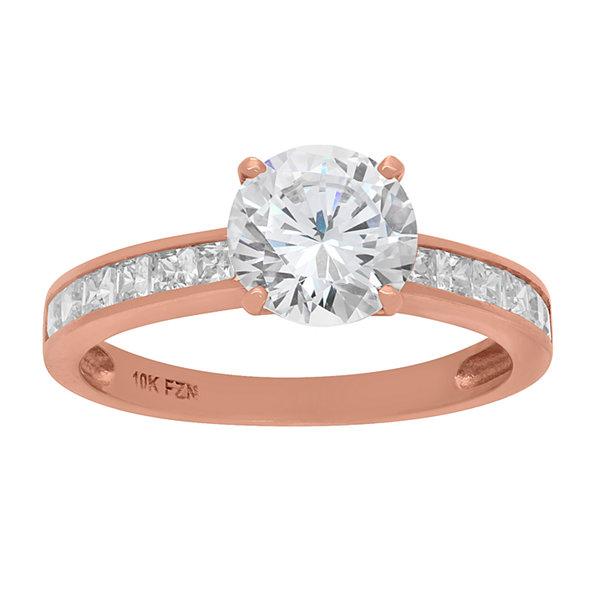 Fine Jewelry Diamonart Womens 1 CT. T.W. Round White Cubic Zirconia 10K Gold Engagement Ring wZR90Z