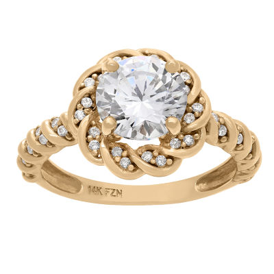 Diamonart Womens 1 1/2 CT. T.W. Lab Created White Cubic Zirconia 10K Gold Engagement Ring