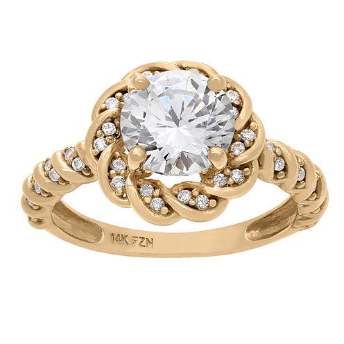 Diamonart Womens 1 1/2 CT. T.W. Lab Created Round White Cubic Zirconia 10K Gold Engagement Ring