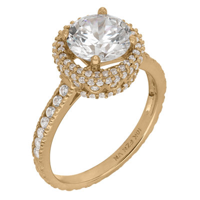 Diamonart Womens 2 1/2 CT. T.W. Lab Created White Cubic Zirconia 10K Gold Engagement Ring