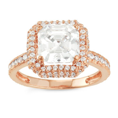 Diamonart Womens 2 1/2 CT. T.W. Lab Created White Cubic Zirconia 10K Gold Halo Engagement Ring