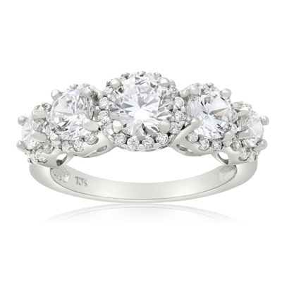 Diamonart Womens 2 3/4 CT. T.W. Lab Created White Cubic Zirconia 10K Gold 3-Stone Ring