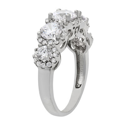 Diamonart Womens 2 3/4 CT. T.W. Lab Created White Cubic Zirconia 10K Gold 3-Stone Engagement Ring