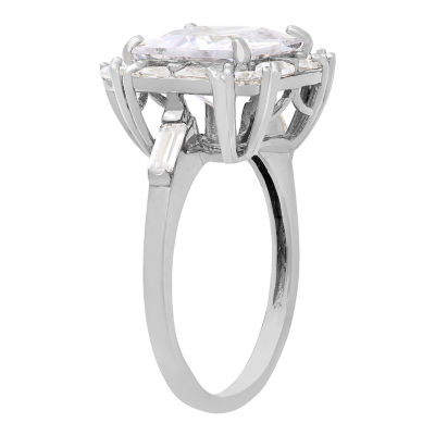 Diamonart Womens 2 1/2 CT. T.W. Lab Created Asscher White Cubic Zirconia 10K Gold Engagement Ring