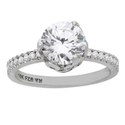 Diamonart Womens 3 1/2 CT. T.W. Lab Created Round White Cubic Zirconia 10K Gold Engagement Ring