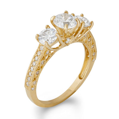 Diamonart Womens 2 CT. T.W. Lab Created White Cubic Zirconia 10K Gold 3-Stone Engagement Ring