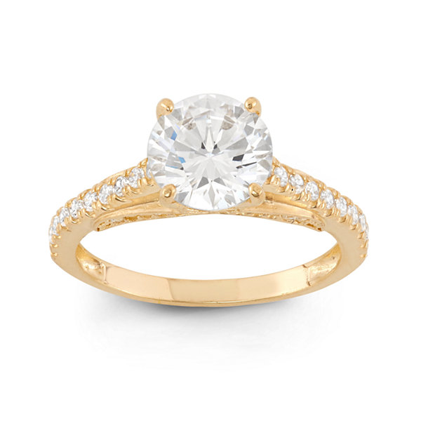 Diamonart Womens 2 1/2 CT. T.W. Lab Created Round White Cubic Zirconia 10K Gold Engagement Ring