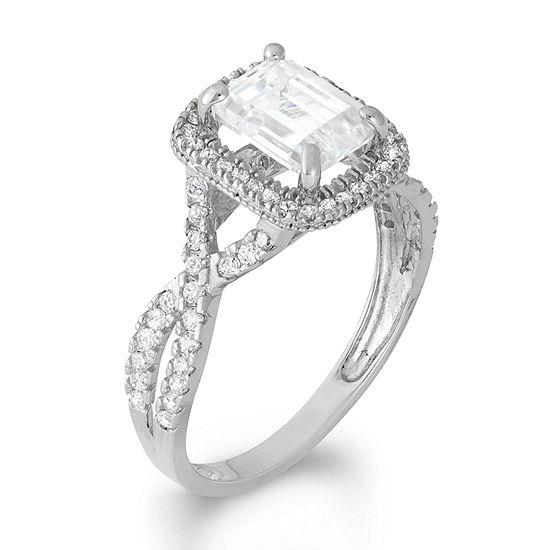 DiamonArt® Womens 2 CT. T.W. Lab Created White Cubic Zirconia 10K Gold Halo Engagement Ring
