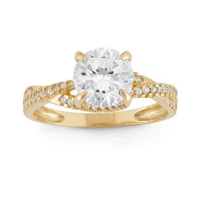 Diamonart Womens 2 CT. T.W. Round White Cubic Zirconia 10K Gold Engagement Ring